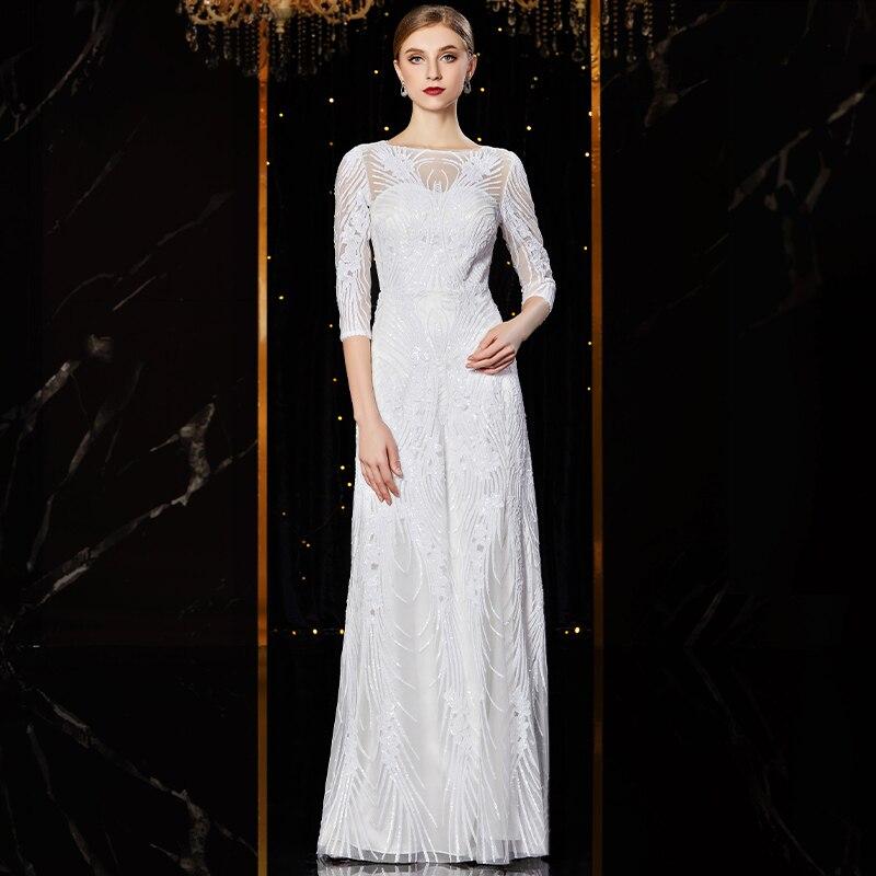 Image 3 - J1952 jancember cheap evening dress long o neck half sleeve pattren sequin lace ladies party dresses kleider damen abendkleidEvening Dresses   -