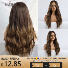 Easihair preto longo a brown ombre perucas sintéticas para preto/branco feminino glueless ondulado cosplay perucas resistente ao calor peruca diária