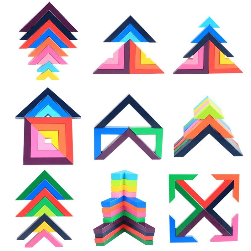 Bébé jouet en bois bloc de construction créativité angle droit coloré bloc bricolage hacher éducatif Monterssori arc-en-ciel en bois jouets