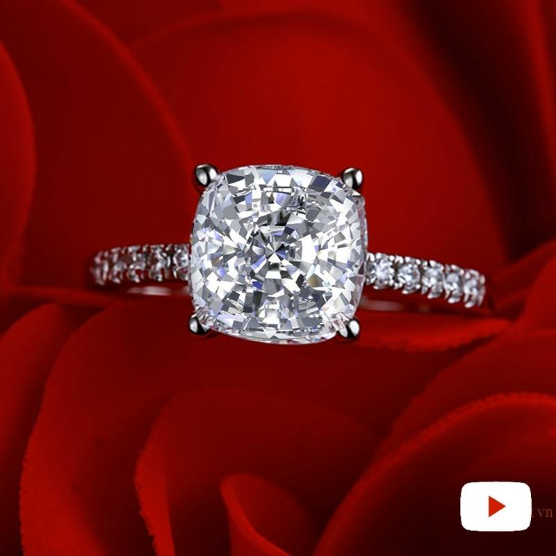 9*9mm Square Cushion S925 Fine Jewelry  Sterling Silver Ring Imitation Diamond Carat 4Cs  Wedding Proposal Dream