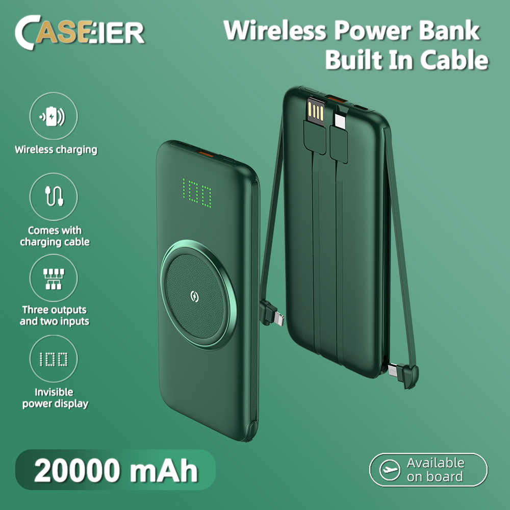 CASEIER 20000mAh banco de energía inalámbrico banco de energía 10000mAh alimentado LED pantalla portátil cargador de batería externa con cuatro cables