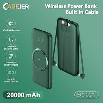 CASEIER 20000mAh Wireless Power Bank Powerbank 10000mAh Powered LED Display Portable Charger External Battery With Four Cable