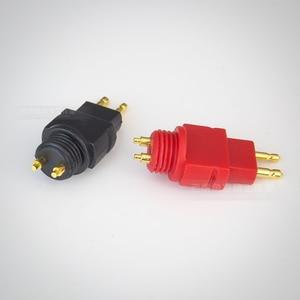 Image 3 - 1 par (rojo y negro) chapado en oro enchufe de auriculares para SENNHEISER HD650 600 de 580 pin de Metal de tubo de escape cable para auriculares DIY