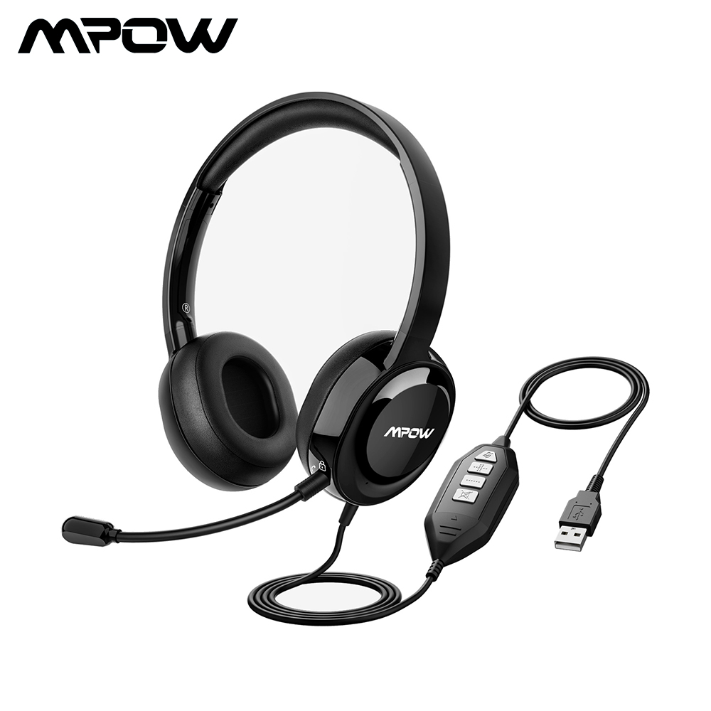 Computer USB Headset Wired Business Headset for Skype//PC//Laptop//Mac Business Black Call Center Headset with Microphone Noise Cancelling