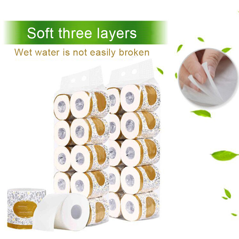 10 Rolls Toilet Paper 3-ply Bath Tissue Bathroom White Soft For Home Hotel Public Hh88