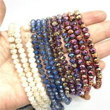 4x6mm/50pcs  Austria Faceted Crystal Glass Beads Loose Spacer Beads for Jewelry Making Wholesale цены