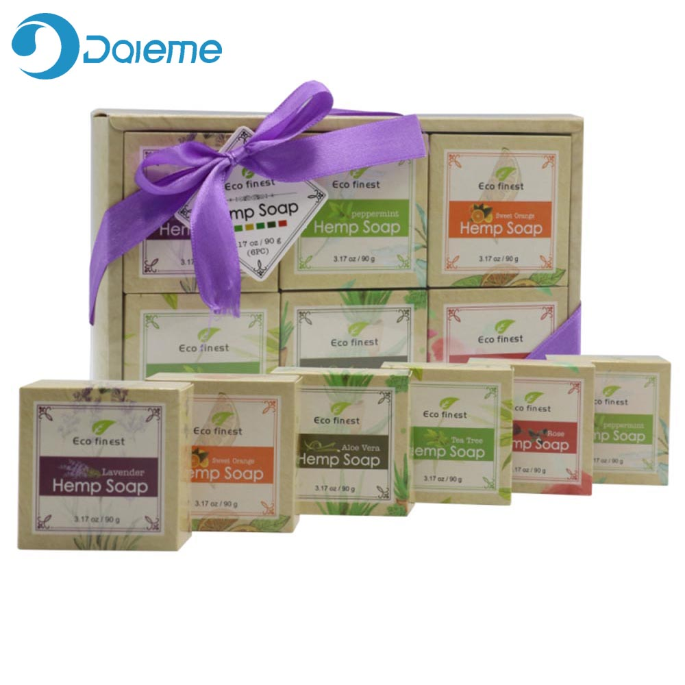 ECO Finest 6 Pcs Natural Organic Melt Handmade Hemp Oil Soap Skin Care Revitalizing Scent With Tea Tree Rose Lavender