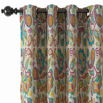 Pinch Pleat Nickel Grommet Print Blackout Curtain Drapery with Liner ChadMade Abby (1 Panel) Size and Header Type Custom