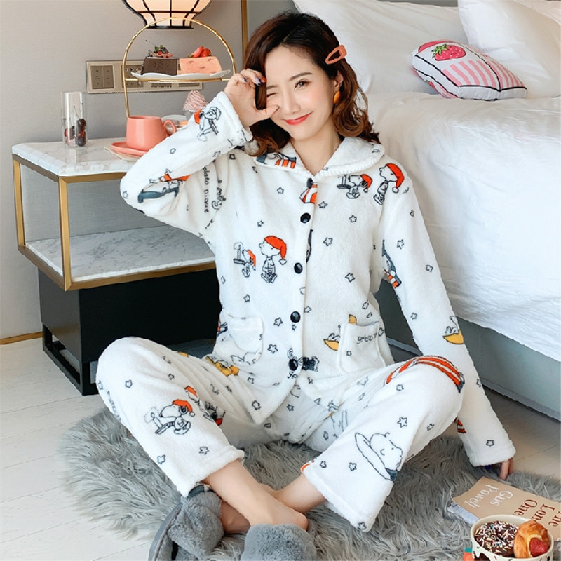 Pajamas Women's Long-sleeved Autumn And Winter Flannel Thickened Plus Velvet Korean Version Can Wear Cardigan Home Service Coral