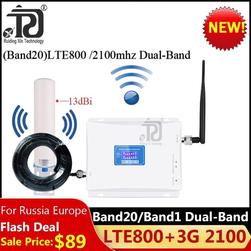 1 Set Band20)LTE800 2100 Dual-Band Cellular Amplifier 3G 4G Network Signal Booster LTE 800 WCDMA 2100 Mobile Signal Repeater