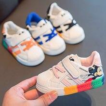 Disney – chaussures de printemps et d'automne pour bébés, baskets blanches pour garçons et filles, arc-en-ciel, semelle souple, nouvelle collection