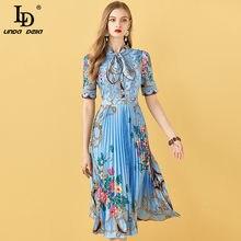 Ld linda della moda pista de verão midi vestido feminino manga curta rendas retalhos floral impressão do vintage feminino vestido plissado 2021