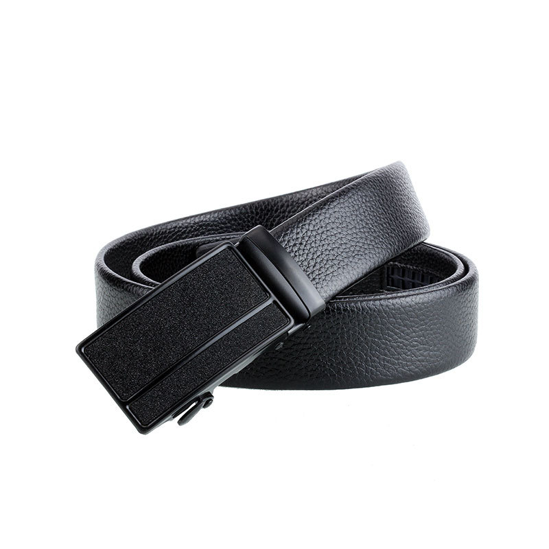 Men's Black Minimalism Automatic Buckle Belt Geometric Lines Buckle Bark Texture Business Fashion Casual Jeans Belt P83