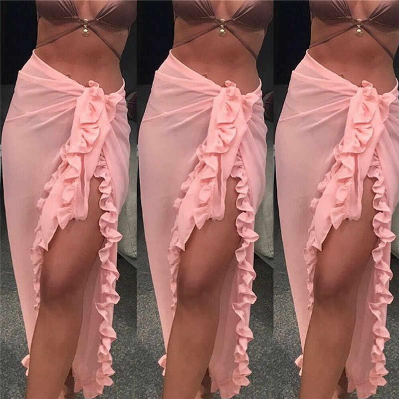 Wanita Beach Cover Up Baju Renang Tipis Kerut-kerut Pantai Maxi Sarung Daoble Zaful Long Gaun Bikini Cover Up Pantai Celana bather
