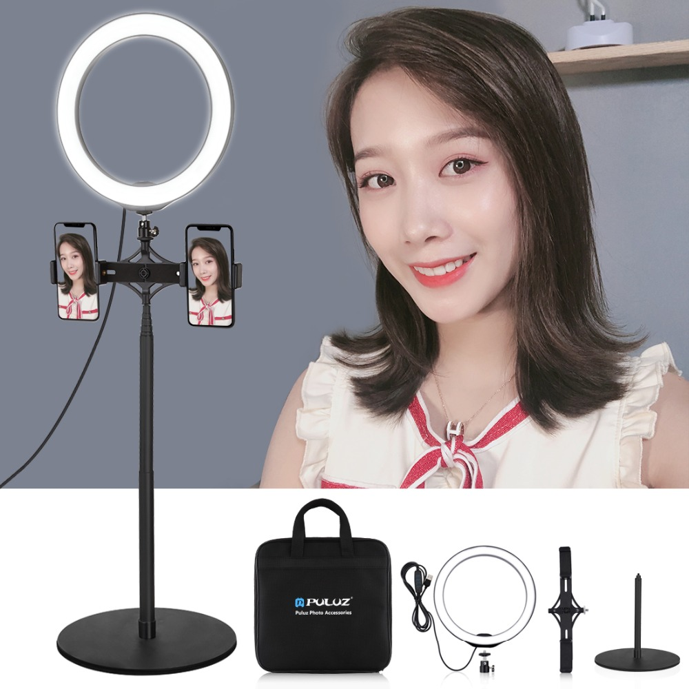 Camera fill light 10.2 inch 26cm Curved Tube USB RGBW Dimmable LED Ring Vlogging Photography Video Lights with Cold Shoe Tripod Ball Head /& Remote Control /& Phone Clamp Lightweight and portabl Black