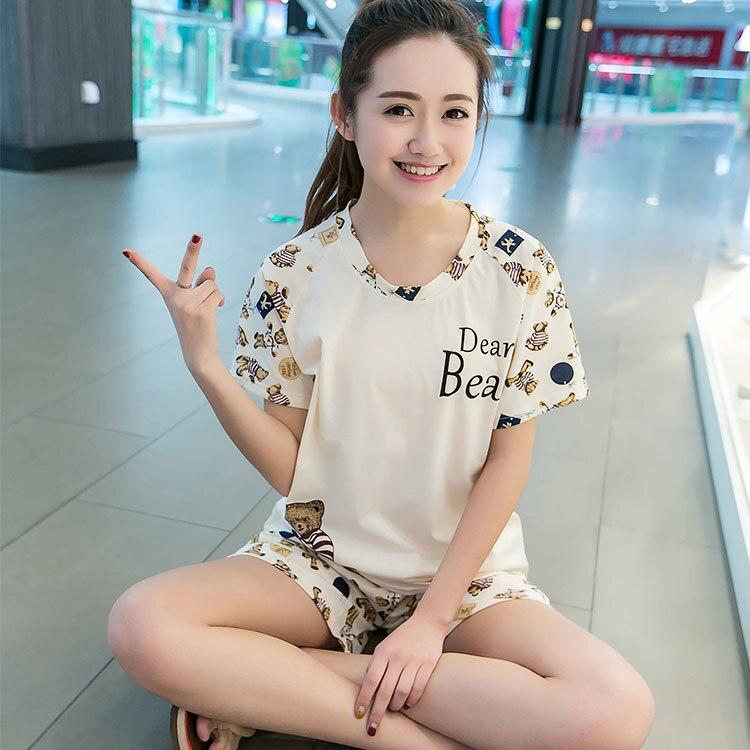According To Feminine Pajamas Female Summer Thin Cartoon Students Shorts Home Big Tracksuit Summer Beige Bear Short Sleeve Short