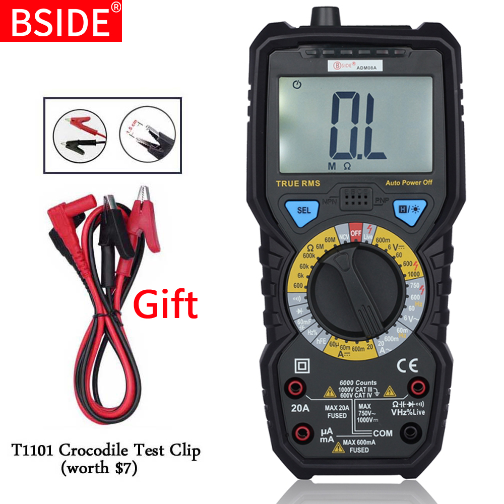 BSIDE ADM08A True RMS Value Digital Multimeter DC/AC Capacitance Frequency Meters Testers Instrumentation Multitester