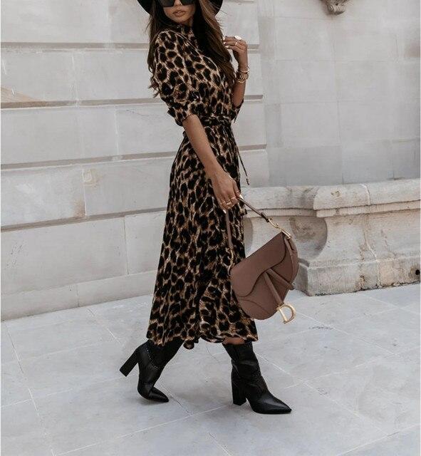 Casual Long Sleeve Split Leopard Print Dress 6