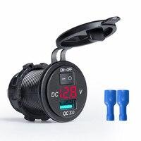 Quick Charge QC 3 0 Wasserdichte USB Auto Ladegerät LED Voltmeter Schalter 12 24V 18W Für Auto Marine boot Rv Lkw Camper Handys|Kabel  Adapter und Buchsen|   -