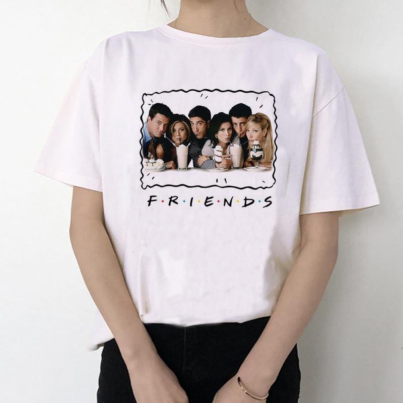 Friend Tv Show T Shirt Women Femme Clothes Female Friends T-shirt Top Tee Shirts Harajuku 90s Tshirt Grunge Streetwear Tumblr