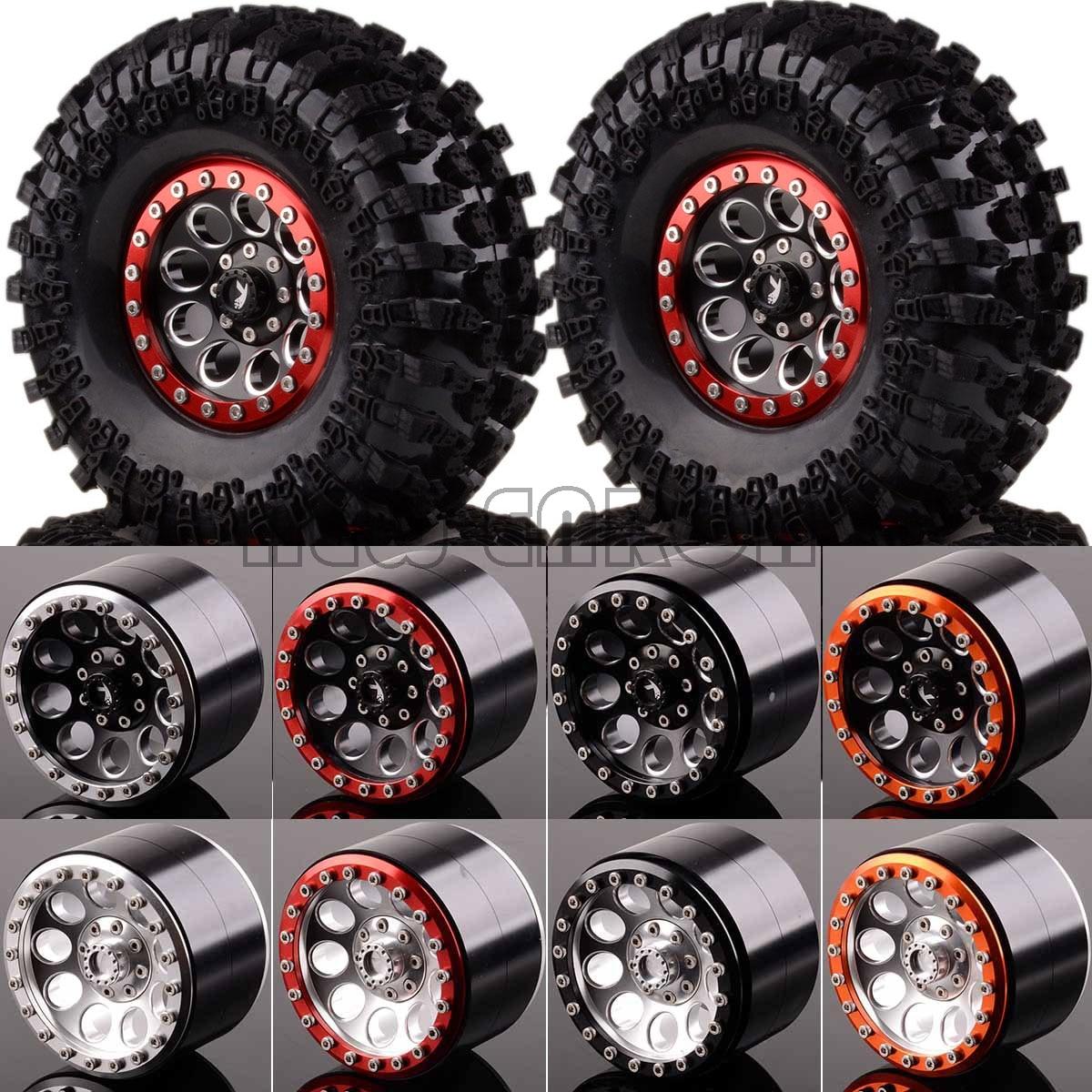 """Nova enron 4 p 2.2 """"metal beadlock roda aro hub & 125mm pneu para rc super swamper rochas 1/10 110 axial scx10 ii 90046 90047"""