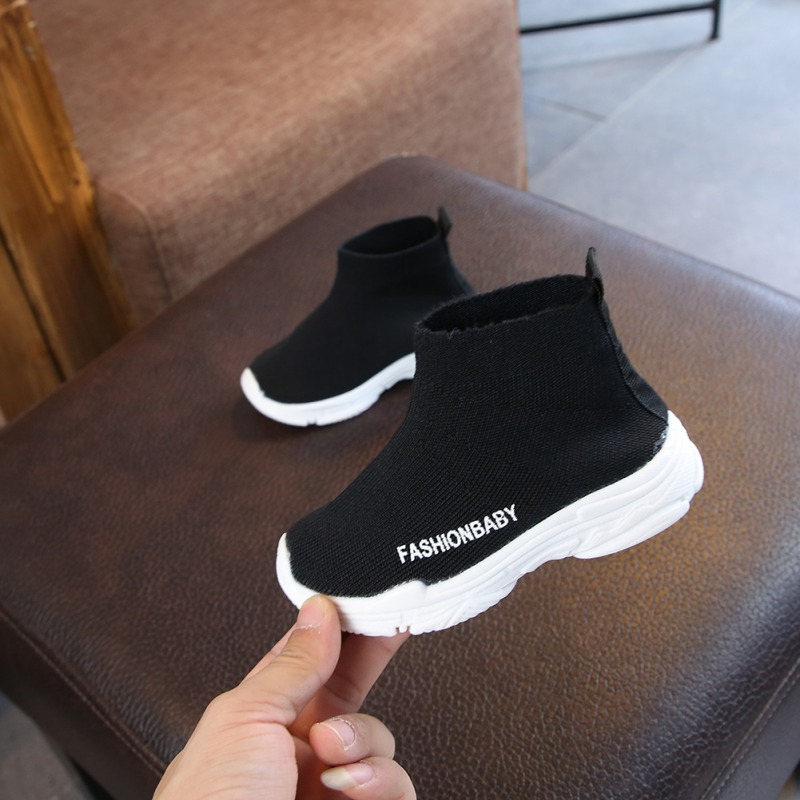 Girls Socks Sneakers For Running Boys Shoes Outdoor Anti-Slippery Fly Knit Kids Walking Shoes 1-6Y Children Casual Shoes
