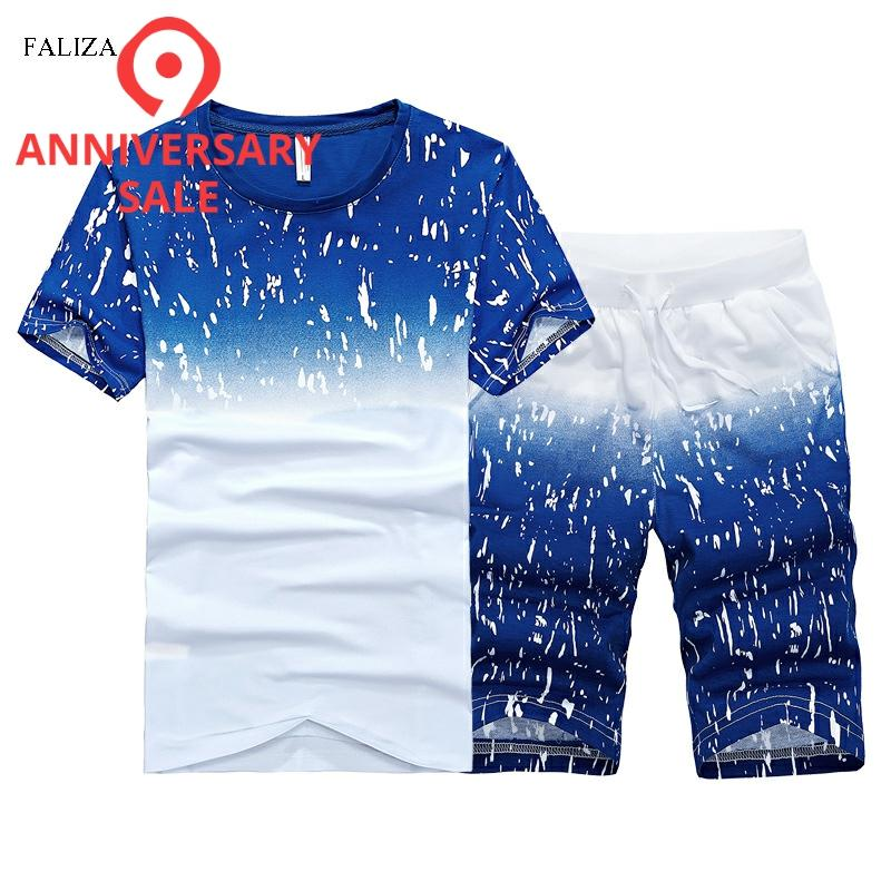FALIZA Casual Tracksuit Men Summer Sportswear Set Print Men Shorts + T Shirt Men's Fitness Suit 2 Pieces Sets Plus Size 6XL ST06