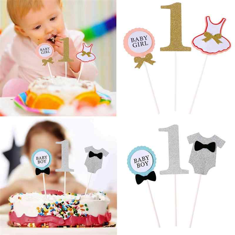 Cute Baby Boy And Girl One Year Old Birthday Cake Topper Clothing Design Card Celebrating Party Cake Decorations Party Supplies