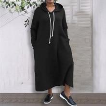 Hiver automne sweats à capuche robe VONDA 2021 femme sweat pull poches décontractées larges à manches longues robe grande taille Vestidos 5XL