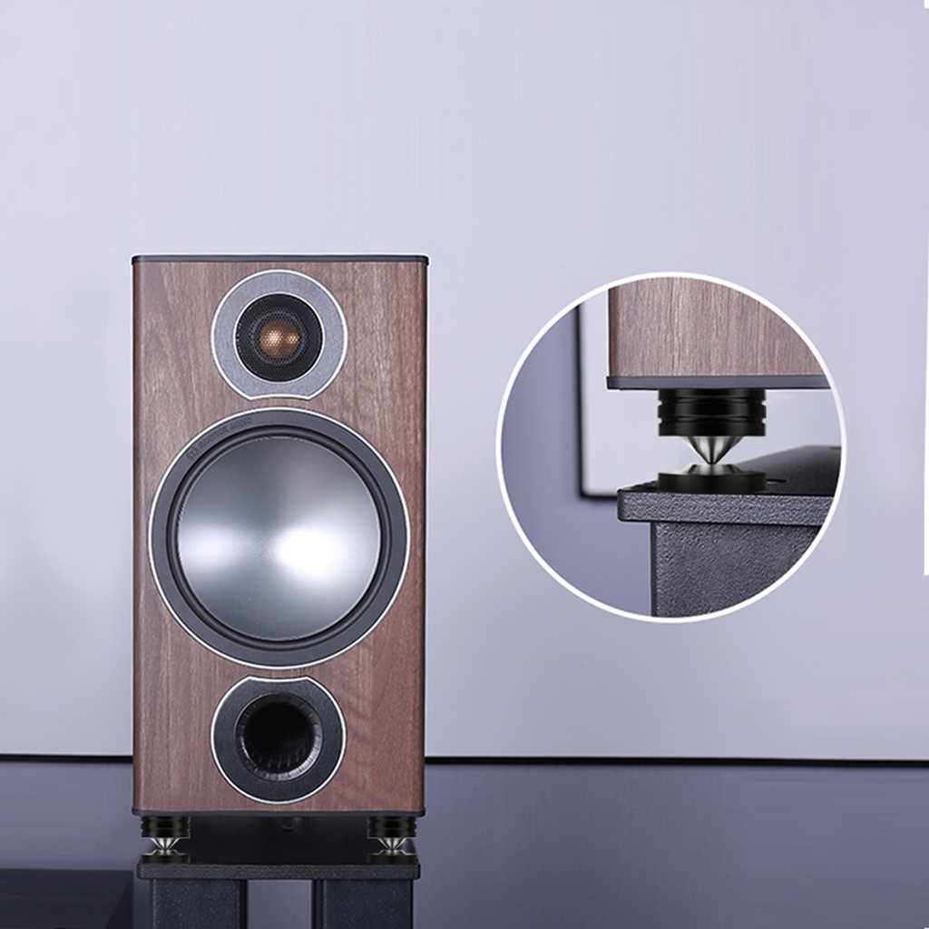 Plata Soportes de altavoz CD Audio Subwoofer Amplificador Tocadiscos Aislamiento Pies Cono Aislador Base Almohadillas Esteras a prueba de golpes con adhesivo de doble cara Picos de altavoz