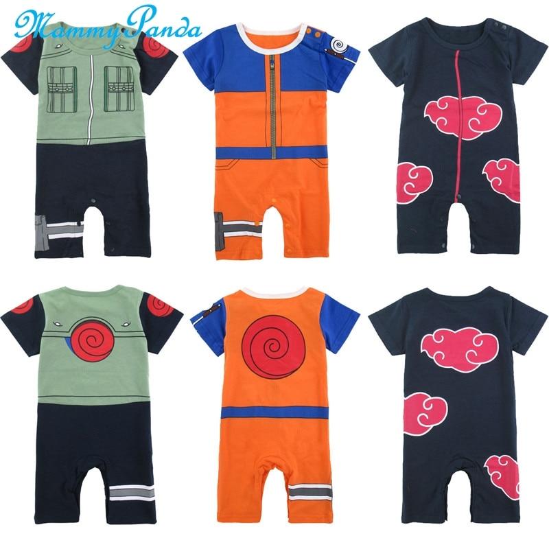 Baby Onesie Anime Naruto Baby Boy Romper Cartoon Cosplay Akatsuki Costume Funny Infant Uzumaki Kakashi Bodysuit Cute Clothes
