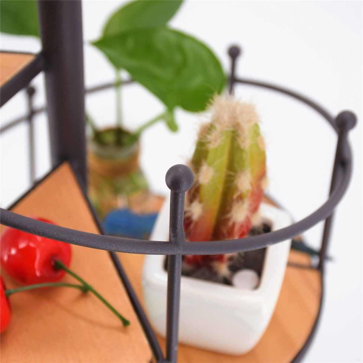 8 ชั้นเหล็กบันไดพืช Rack ขาตั้งโลหะพืช Succulent ชั้นวางของ Desktop สวนดอกไม้ตกแต่งไม้แผ่น
