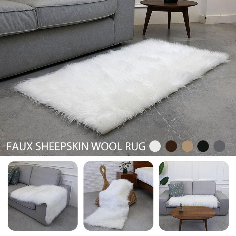 Tapis en laine multicolore tapis moelleux luxueux décoration de la maison salon anti-dérapant chaud tapis de sol chaise canapé