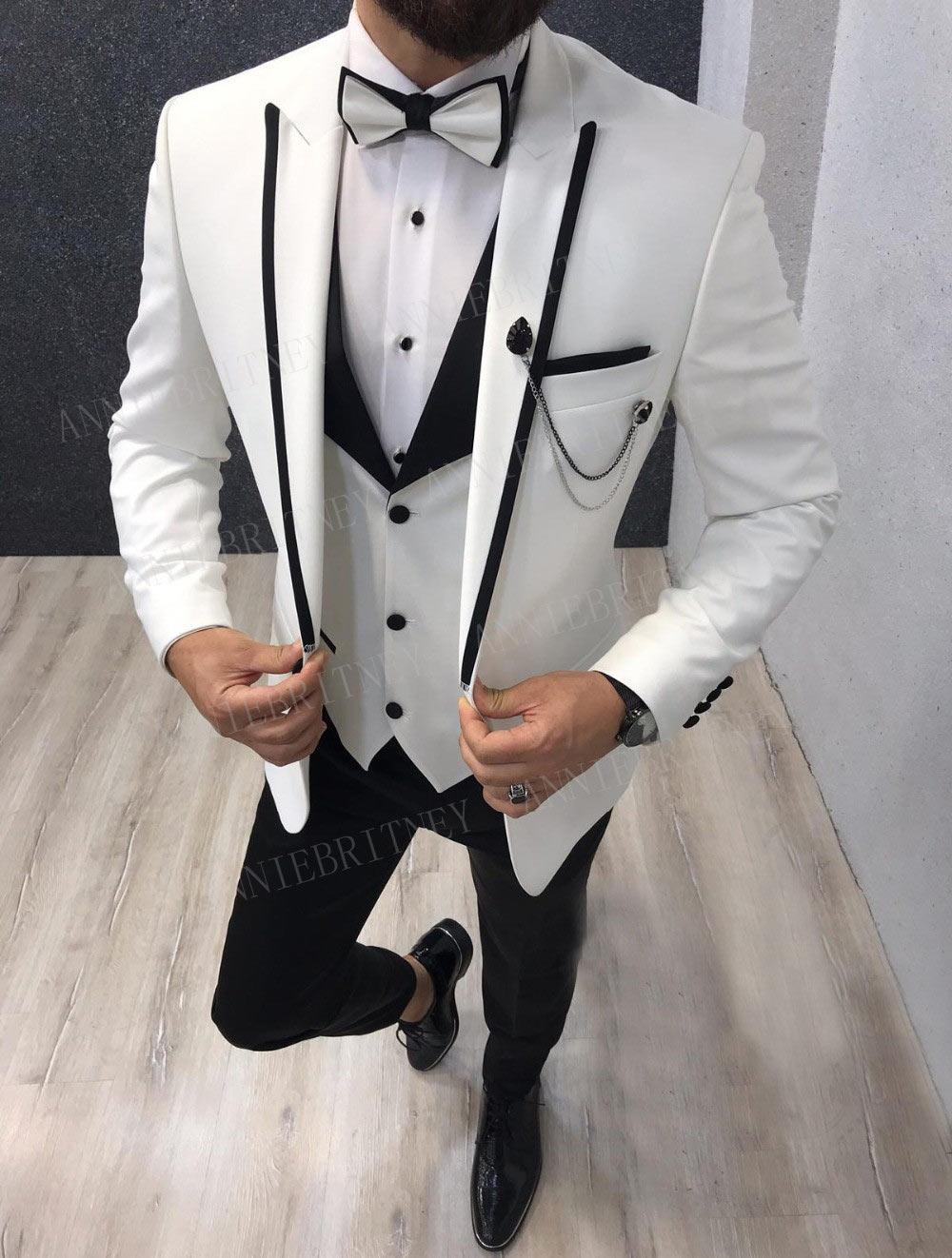 ANNIEBRITNEY 2019 Customize Peak Lapel Groom Tuxedos Formal Men Wedding Suits Prom Best Man Blazer Pants Fashion Male Suit Set