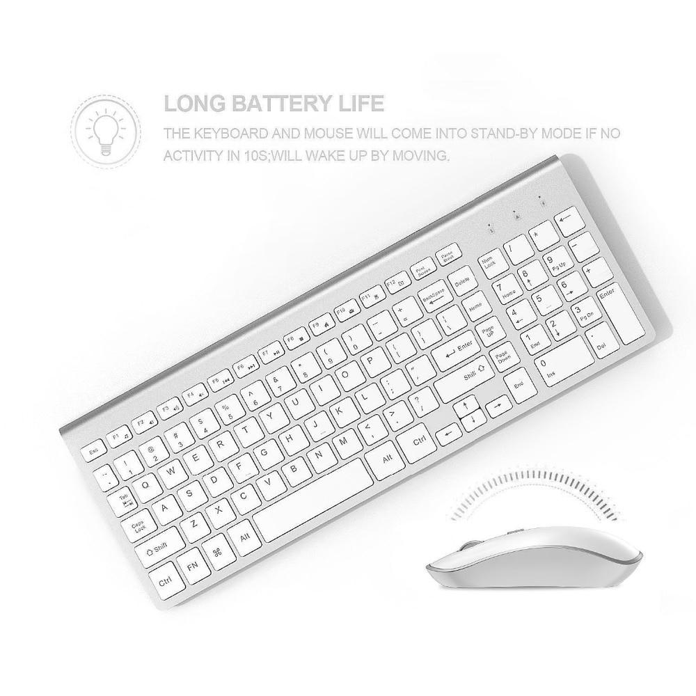 2.4g teclado sem fio e mouse combo orsolya compacto completo tamanho fino teclado e 2400dpi rato óptico de baixo nível de ruído
