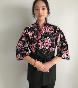 Niestandardowe kobiety szefa kuchni w stylu japońskim jednolity restauracja kuchnia Kimono Sushi kwiat Cook mundury średni rękaw kelnerka odzież