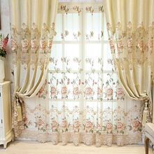 Luxury European Embroidered Curtains for Bedroom Villa Chenille New Home Window Cortinas WP321C