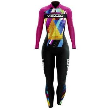 VEZZO-Conjunto de Ropa de triatlón largo para Mujer, traje de Ciclismo profesional...