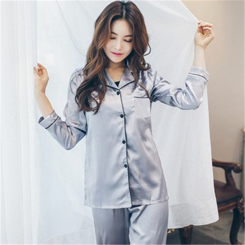 Long Sleeve Sleepwear Pajamas Suit Female Homewear 2  Piece Autumn Women Sleepwear Faux Silk Satin Pajamas Set