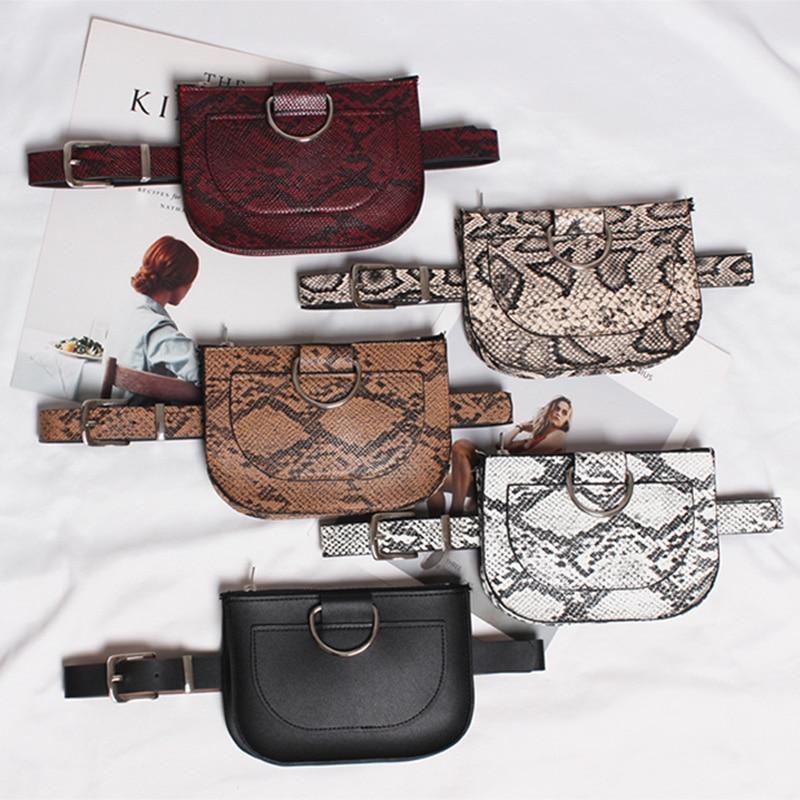 Women's Waist Bag Fashion Leather Fanny Pack Serpentine Bag PU Kidney Banana Bags High Capacity Brand Shoulder Messenger Bag