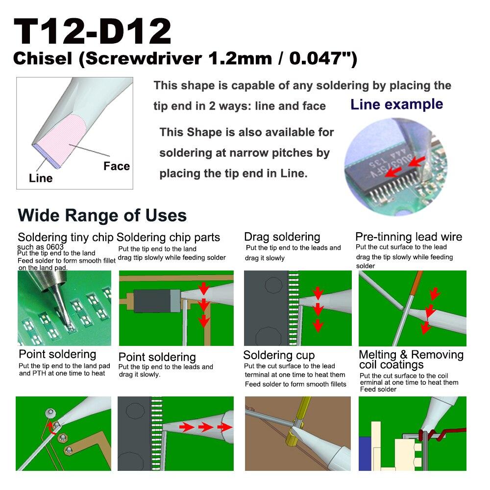 Tools : 5 PCS T12-D12 Screwdriver 1 2mm Soldering Tip for HAKKO FX-951 FX-950 FX-952 FX-9501 FM-2028 FM2027 Iron Nozzle Bit Replacement