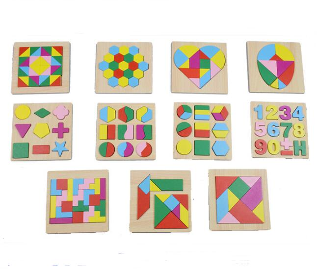 New IQ Wooden Tangram Puzzle Kids Educational Puzzles Game For Children