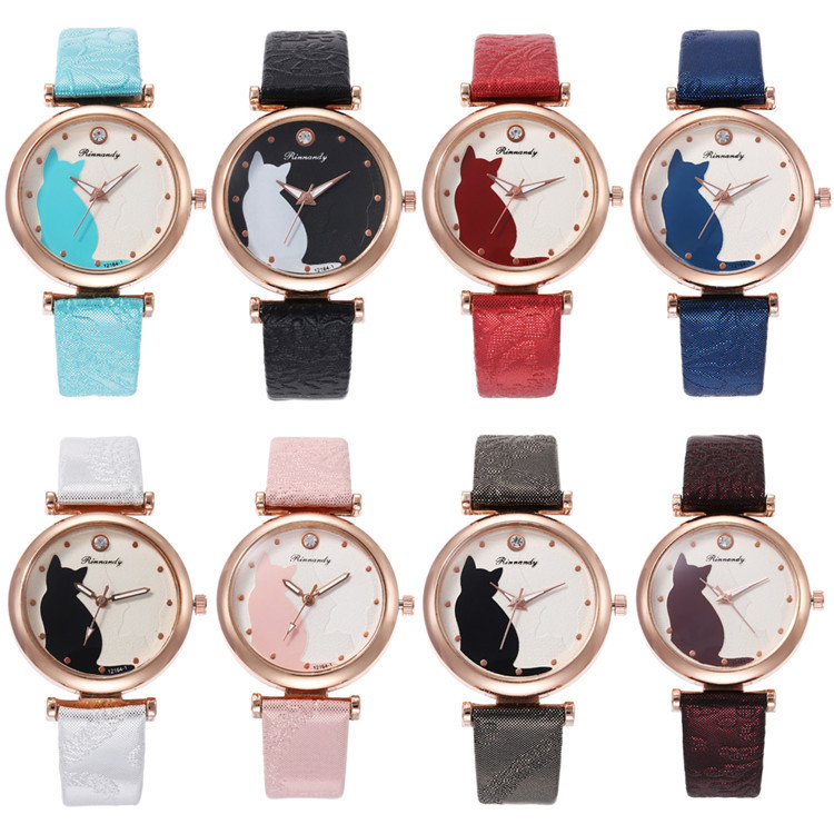 Fashion Belt Series Bracelet Watch Multicolor Fine Surface Cat With Ribbon Watch Joker Lady Wrist Watch