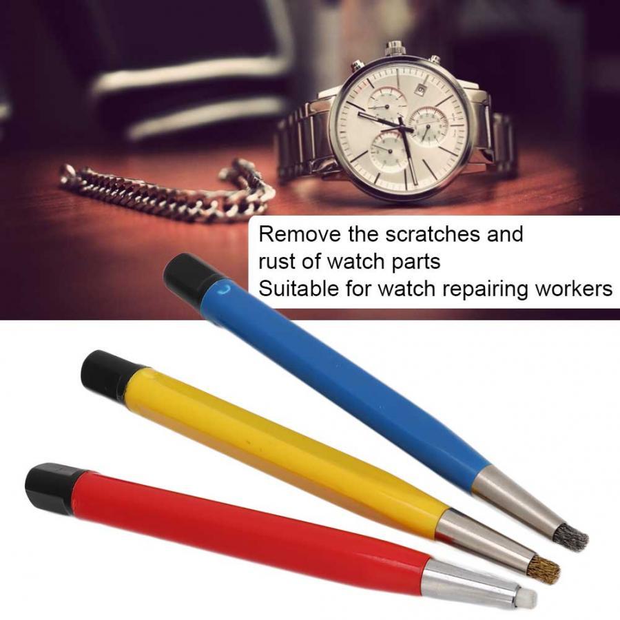 Image 2 - 3pcs/set Rust Removal Brush Pen Fiberglass Brass Steel Scratch Brush Clean Pen Watch Parts Polishing Tool Watch Parts AccessoryRepair Tools & Kits   -