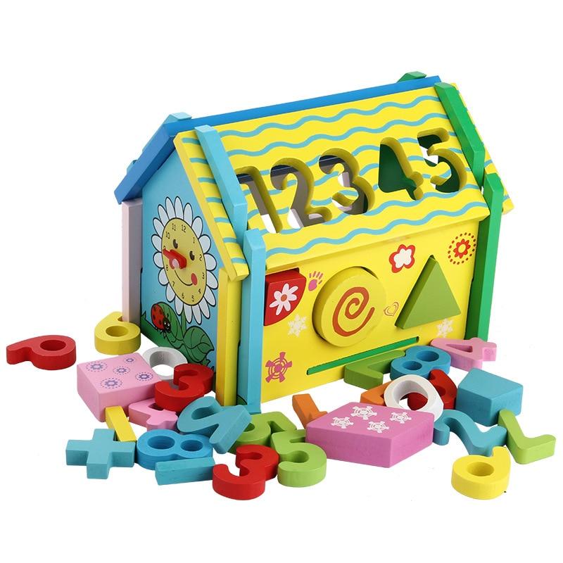 Amovible chiffres maison enfants bébé éducatif mains sur démontage combinaison sagesse formes géométriques maison en bois jouet