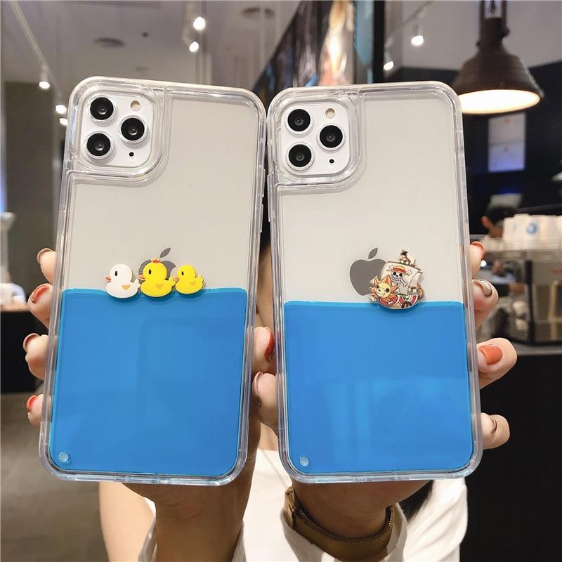 Creativity Cartoon quicksand liquid Pirate Ship duck cellphone case phone case for iphone 11 Pro X XR XS MAX 6 6s 7 8 Plus