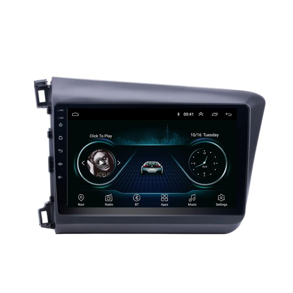 Quad core Android 8,1 para HONDA CIVIC 2012, 2013, 2014, 2015 Multimedia estéreo reproductor de DVD del coche de navegación GPS Radio Seicane Android 8,1 2Din 9