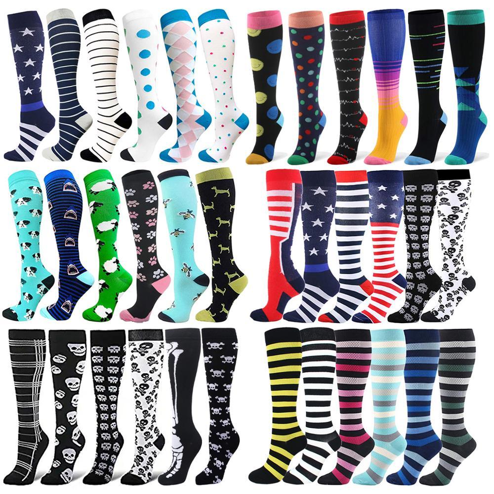 HUAYASX 6 пар/лот Компрессионные носки в полоску в горошек цветные животные фрукты огненные однотонные мужские и женские носки под давлением не...