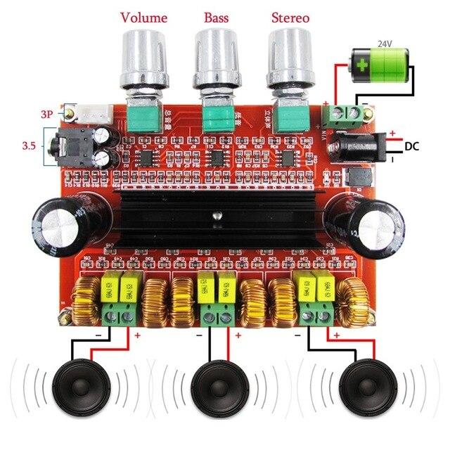 Placa amplificadora de áudio digital, 80 w * 2 + 100 w 2.1 channel digital subwoofer tpa3116d2 com ne5532 DC12 24V stereo amp amp amp