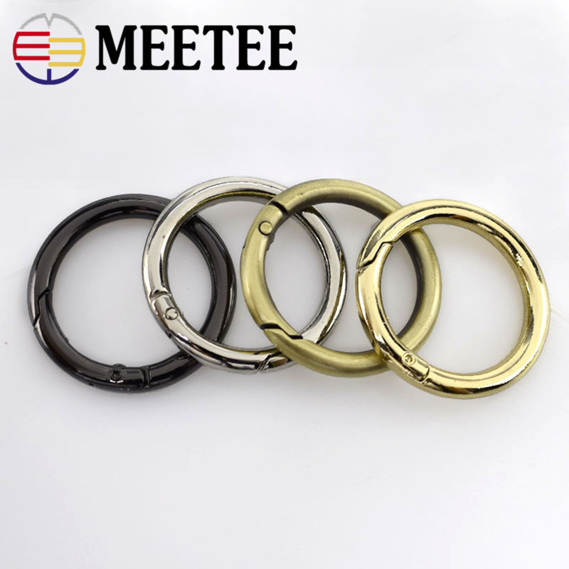 5/20pc 32mm Metal D O Ring Openable Keyring Leather Bag Belt Strap Dog Chain Buckle Snap Clasp Clip Trigger DIY Accessories H7-3